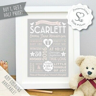 Personalised Retro New Baby Birth Details Print/Framed Picture Christening Gift
