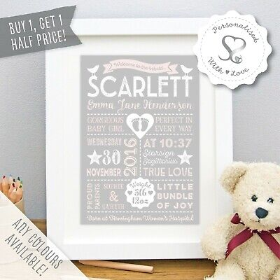 Personalised Retro Type Christening New Baby Birth Print or Framed Print Gift