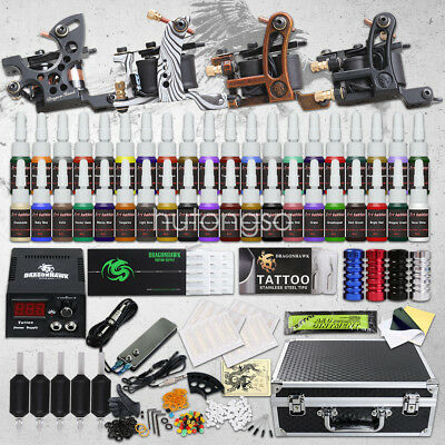 Complete Tattoo Kit 4 Machine Gun 40 Color Ink Power Supply Tip 50 Needle D120HD