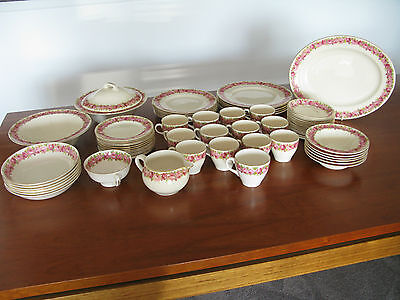 Royal Doulton Raby Roses dinner 67 piece set inc rare serving platter D5533 used