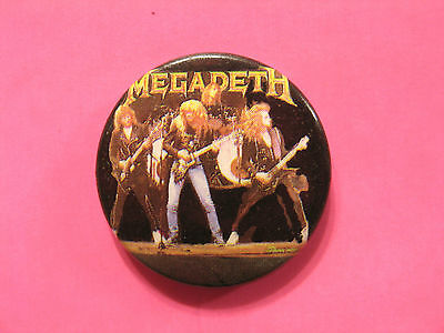 "Vintage Megadeth 1""badge Button Pin Uk Import ""group"""