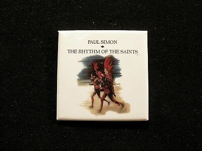 "Paul Simon Square Vintage Promo Badge Button Uk Made ""the Rhythm Of The Saints"""