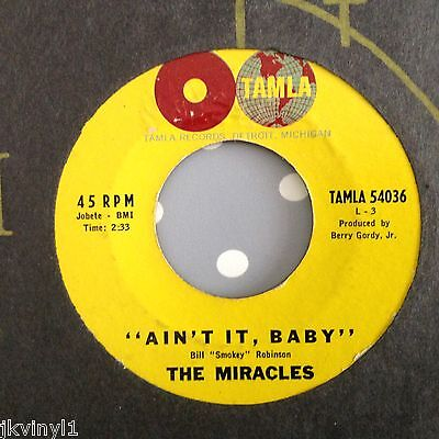 Miracles-Ain't It Baby/the Only One I Love-.tamla 54036. Vg+