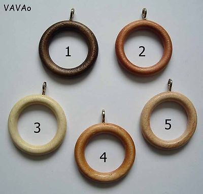 WOODEN CURTAIN RINGS 12,14,20,30 PACK - 5 COLOURS, Wood, to fit 28mm pole ring