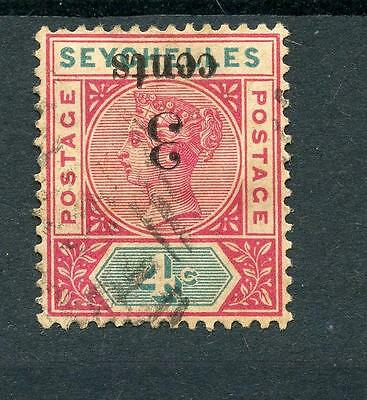 Seychelles 1893 3c on 4c Surch Inverted SG 15a FU