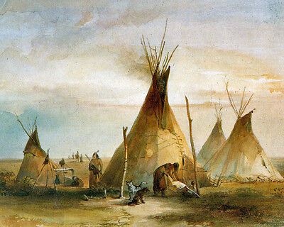 Native American Sioux Indians Teepee Painting 8x10 Real Canvas Fine Art Print