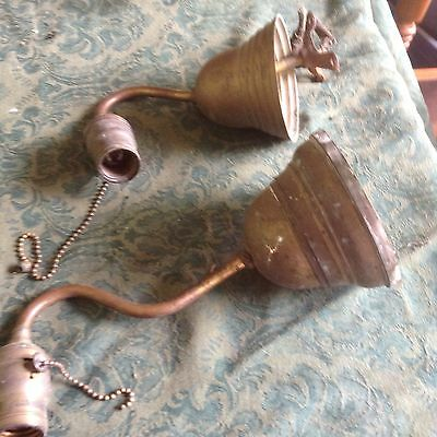 Industrial single arm vintage Brass sconce 1920's  Goose Neck