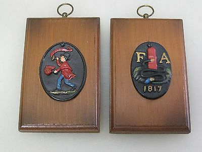 (2) Vintage Mid Century Firefighter Fireman Firehouse Wall Plaques A5046