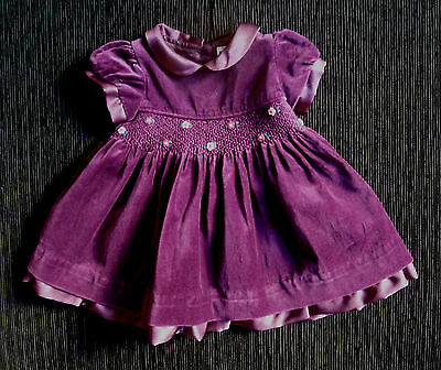 Baby clothes GIRL 0-3m plum velvet layered dress short sleeve,smocked,embroidery