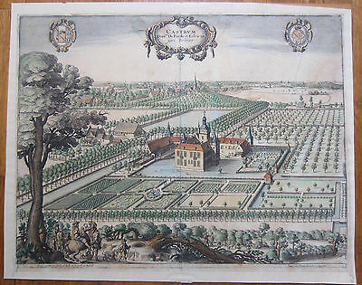 A. Sanderus Large Original Colored Engraving Castle Castrum Percke Eelewijt 1730