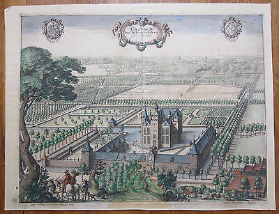 A. Sanderus Large Original Colored Engraving Castle Percke Eelewijt II - 1730