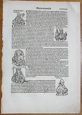 Incunable Leaf Schedel Liber Chronicorum Kings Sicily Bohemia  1493