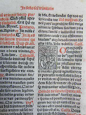 Post Incunable Leaf Breviary Brevarium Small Woodcut (IX) - 1508