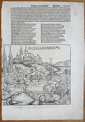 Incunable Leaf Schedel Liber Chronicorum View Bamberg Germany  1493