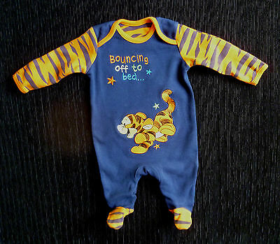 Baby clothes BOY newborn 0-1m Disney Tigger navy blue/orange babygrow/bedtime