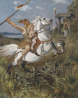 Germanic Tribe Warrior On Horse With Child  8x10 Real Canvas Fine Art Print
