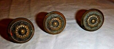 "1 Antique STAMPED BRASS KNOB 7/8"" H x 1-1/4"" DIAMETER"