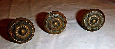 "Antique STAMPED BRASS KNOB 7/8"" H x 1-1/4"" DIAMETER"