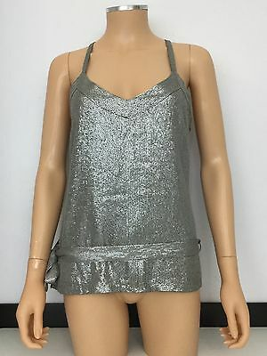 Reiss Women's Silver Grey Sequin Smart Top Tie Around Waist Size 10 Nwt Rrp £145