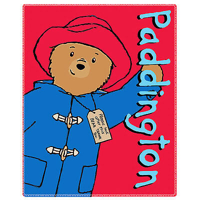 Official Licensed Product Paddington Bear Fleece Blanket Soft Fun Red Bed New