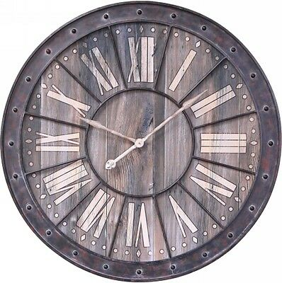 NEW Large Vintage Rustic 105cm Big Wood Dial Wall Clock w/ Roman Numerals -1468