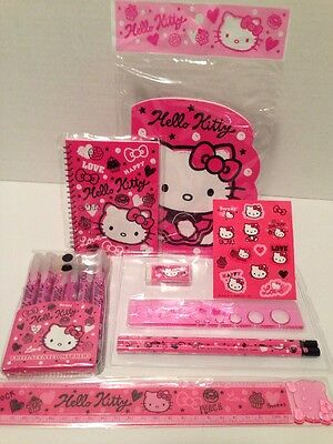 Sanrio Hello Kitty Squiggles Markers, Pencils, Eraser Notebook & Rulers Etc NEW