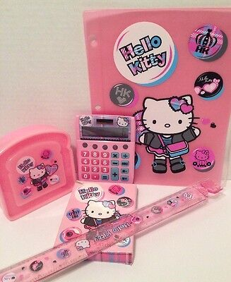 Sanrio Hello Kitty Cute Punk Calculator, Sandwich Box, Ruler, Binder Sleeve 2008