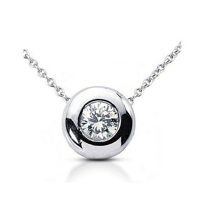 0.65 CT H-SI1 VG Round Certified Diamond 14k Gold Bezel Solitaire Pendant 10.1mm