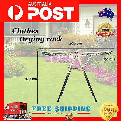 Stainless Steel Clothes Line Drying Rack Garment Hanger Foldable Dryer Folding