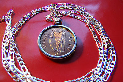"""IRISH FARTHING COPPER COIN PENDANT on a 30"""" 925 STERLING SILVER Chain"""