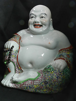 Antique Chinese Famille Rose Porcelain Buddha Statue Republic Period Signed 12""