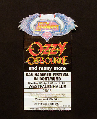 Ozzy Osbourne Vintage Ticket Dortmund April 89