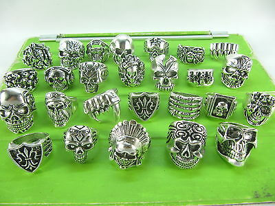 30pcs mixed silver 3D skull alloy rings fashion party jewellery wholesale bulk