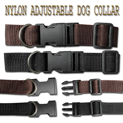 Nylon Adjustable Dog,Cat Collar Black/Brown 3 sizes