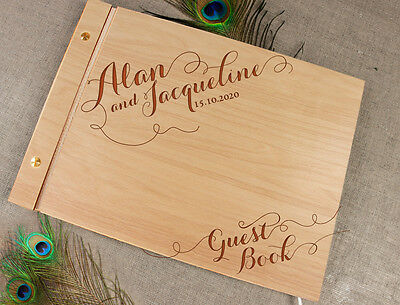 Wedding Birthday Christening Personalised Photo Album Wooden Guest Book Gift