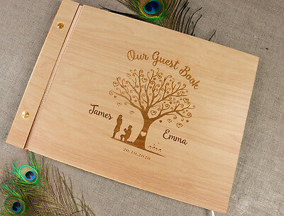Laser Engraved Wood Guest Book Personalized Wedding Photo Album Wood Heart Tree