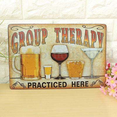 Retro Metal Picture Bar Sign Tin Vintage Plaque GROUP THERAPY Pub Man Cave