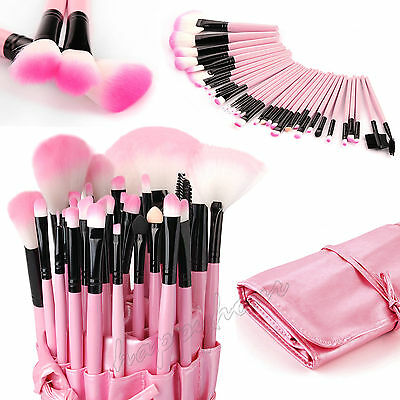 Professional 32 Piece Kabuki Make Up Brush Set and Cosmetic Brushes Case Pink