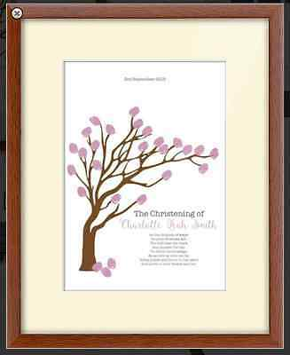 Personalised Wedding Christening Fingerprint Tree Guest Book Frame Large CANVAS