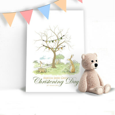 Guess how much i love you? Fingerprint Tree Personalised Christening Birthday