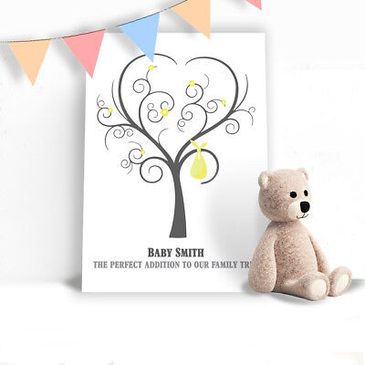 Personalised Baby Shower Fingerprint Tree Guest Book - Gift Present