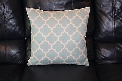 Cushion cover Handmade Cream Moroccan ethnic hexagon print on duck egg blue