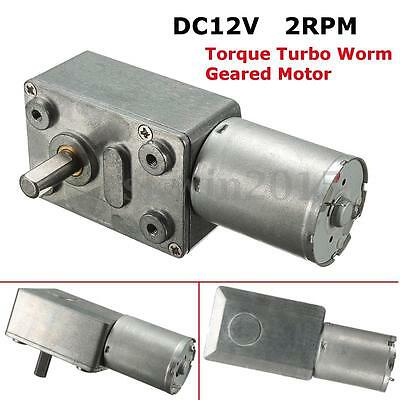 High Torque 12V 2RPM Low Speed Turbo 370 Motor Reducer Right Angle Worm Geared