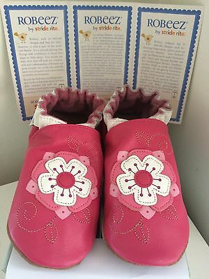 Robeez Stride Rite Soft Sole Leather Girls Shoes 4-5 Years 12-13 US new sale