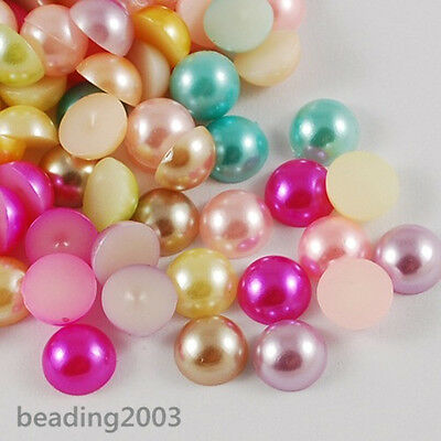 Mixed Colour Flat Back Half Round Faux ABS Pearl Acrylic Cabochons Embellishment
