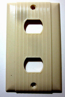 Vintage Uniline Bryant Ribbed Bakelite Ivory Despard 2 Switch Plate Cover Deco