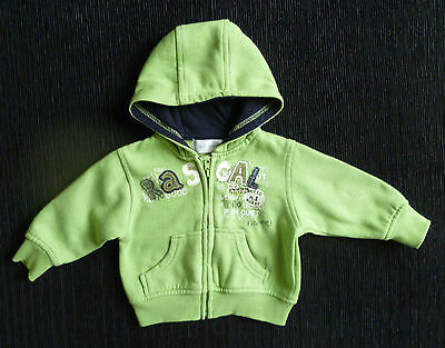 Baby clothes UNISEX BOY GIRL 0-3m apple green sweatshirt-style hood zip jacket