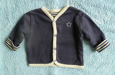 Baby clothes BOY 0-3m navy blue/grey sweatshirt-style cotton cardigan/jacket