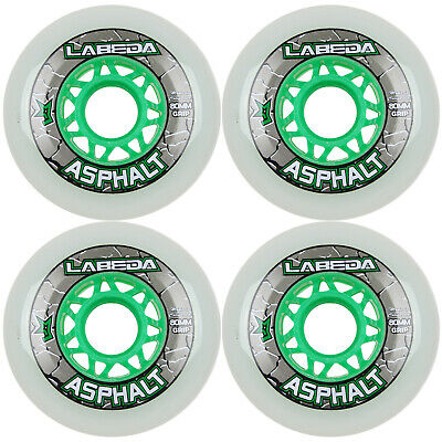 LABEDA WHEELS Inline Roller Hockey GRIPPER ASPHALT OUTDOOR WHITE 80mm 83A x4