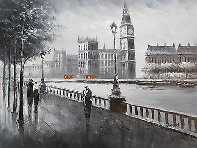 london black white red large oil painting canvas contemporary cityscape original